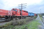 A trio of SD40'ss lead an outbound train from CP's Kenwood yard on an overcast Sunday evening