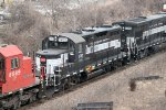 One of 2 Finger Lakes locomotives in tow on CP train 450 this day