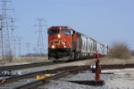 CN 2571 leads 343's train into Joliet at Cherry Hill Road