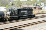 Norfolk Southern SD40-2 6137 sits on a siding overlooking Railroad Street