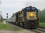 CSX 8156 & 9052 lead D006-09 west to start dumping ballast along the GR Sub