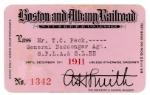 1911 Boston & Albany annual pass