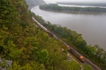 BNSF 7254 West running along the Mississippi Palisades