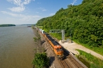 BNSF 7571 East exits the Mississippi Palisades