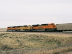 BNSF 9327 leads the power and empties north and west
