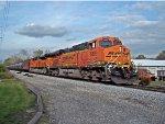 An pair of BNSF powers on CSX K-143 crude oil westbound train