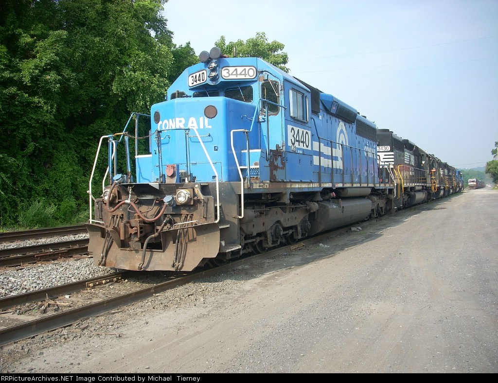 NS SD40-2 3440 & 3430 , GP38-2 5154 & 5172 , SD40-2 3394 & 3422 at the east end of Allentown Yard