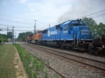 BNSF C44-9W 1101 , BNSF AC44CW 5715 and NS SD50 5413 lead a pig train thru Macungie Pa