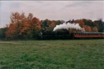 Steaming through the fall countryside.