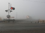 BNSF 7305 in the fog