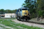 sd40-2 leads general freight into hamlet