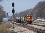 BNSF 7511 Runs an Eastbound Freight Train on the Aurora Sub