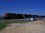 Mix of CN Power Sits with a Grain Train on BNSF's Main 1 Track