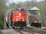 CN 2228 leads M342 down the J, away from the old tower at The Rock