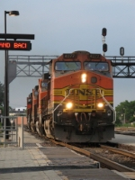 BNSF 4377 leads a 4-unit lite power consist through the station