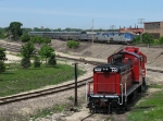 Westbound train 5, the California Zephyr, passes the parked Burlington Junction loco's