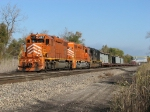 With an IC SD70 in the consist, EJ&E orange leads KSW1