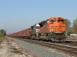 BNSF 9365 & NS 9286 wait just short of the state line on the IHB to continue east with hoppers