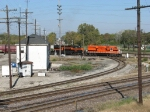 IHB 4011 & 3862 drag a cars out of Blue Island Yard past Dolton Tower