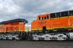 BNSF 7297 2nd unit close up as she rolls past me at BNSF South Pasco yard.