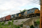 CSX 5369 leads Q275 south over old 31-W viaduct near MP 119 late afternoon 5/6/09