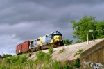 CSX 2341/CSX 6411 and southbound local J759 approach old 31-W viaduct near MP 119 just after 5pm 5/6/09
