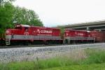 R.J. Corman 1605/1602 bring up the rear of train led by RJC 3438/1603 entering Memphis Jct. Yard 5/8/09