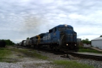 Q201 southbound with former Conrail now CSX 7343 still in blue paint nearing Main St. 5/10/09