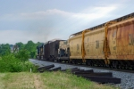 CSX R647 is southbound toward the Barren River with a colorful consist 6:04pm 5/22/09
