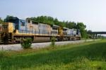 CSX 335 leads Q574-16 approaching MP 118 Memphis Jct. Yard 8:19am 6/20/09