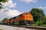 BNSF 9148 leads Q275 southbound near MP105 at Gossom on the CSX Mainline Sub at 2:51pm 6/20/09