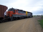 A Pair of GP35s Take a Grain Train West