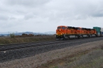 BNSF 7293 leads BNSF 7295/7292 towards a crew swap at BNSF Hauser Idaho.