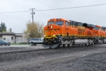 Close up of BNSF 7293 with a new crew as she rolls north towards Whitefish, Montana.