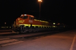 BNSF 7276 waits for a new crew to head west with BNSF 7272 behind in the dark.