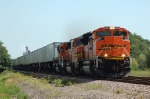 BNSF 9378, leads a westbound hotshot Q-train