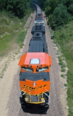 BNSF 9131 with a westbound empty hopper train on the Ravenna Sub