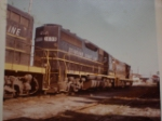 SCL GP7's and alone GP40 tied up for the weekend 1975 in Myrtle Beach SC