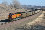 BNSF 4173 is working eastbound as a DPU remote unit