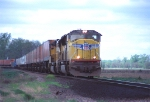 UP 3950 races east after crossing the Missouri River in western Iowa,
