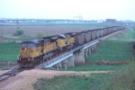 UP 8263 leads a Mid American Energy coal train to the new power plant,