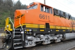 BNSF 6611 left side close up shot on the siding.