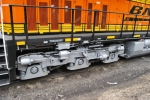 Close up of the extra air cylinders on the axles 4,5, and 6 of BNSF 6613.