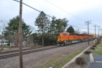 BNSF 6610 rolls east past me at the Rochelle Railroad park with BNSF 6609 2ND  AND BNSF 6617 3RD.