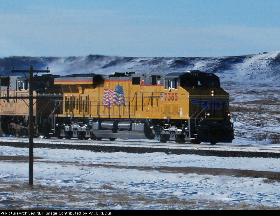 UP 7385 climbs the grade towards Sherman Hill, Wyoming and a crew change at Green River, Wy.