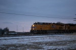 UP 7362 rolls east towards UP North Platte, Ne yd on this winters evening.