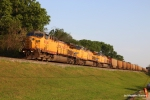 UP 6841 leads a string of empties northbound on the Choctaw Sub