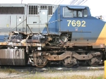 CSXT 7692 shows the aftermath of a side-swipe collision at Proviso Yard
