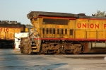 UP 9366 after colliding with a caboose