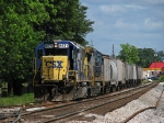 CSX A708 -20 tied down on the grain elevator siding